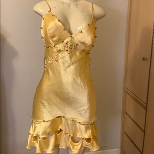 Satin hand crystals one of a kind Dress